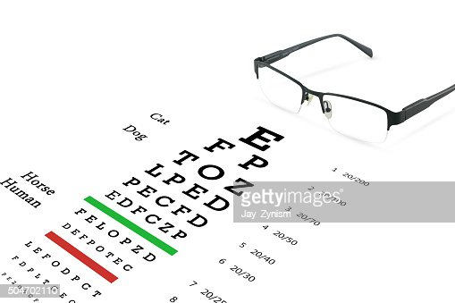 Eye glasses with eyesight test on chart board. : Stock Photo