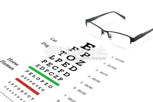 Eye glasses with eyesight test on chart board. : Stock Photo
