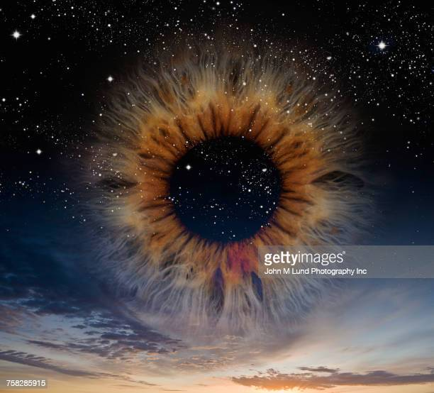 Eye in clear sky at night