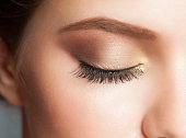 Closeup of woman eye with beautiful makeup