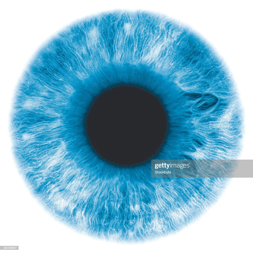Eye, negative image, with blue-green iris : Stock Photo