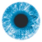 Eye, negative image, with blue-green iris