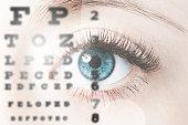 Close up image of human eye through eye chart