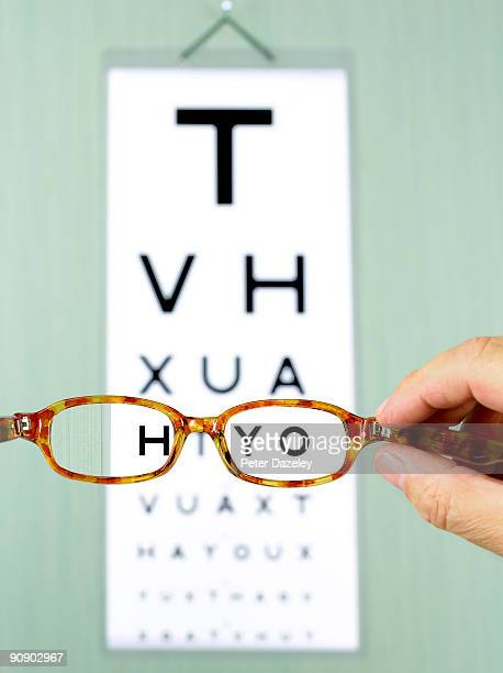 Eye test chart with glasses.