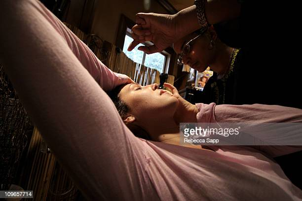 Eyebrow threading at Ziba during KARI FEINSTEIN PR Presents STYLE LOUNGE Benefiting Project Angel Food Day 1 at Chaz Dean Studio in Los Angeles...