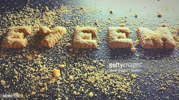 EyeEm Text Made Of Biscuits On Table