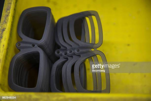 Eyeglass frames sit on a table at a Nagai Co factory in Sabae Fukui prefecture Japan on Tuesday Oct 10 2017 Fukui Prefecture has one of the lowest...