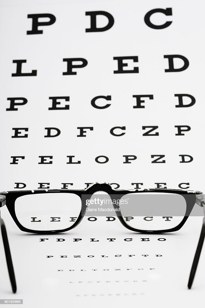 Eyeglasses on an eye chart : Stock Photo