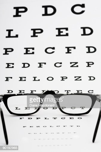 Eyeglasses on an eye chart : Stock Photo