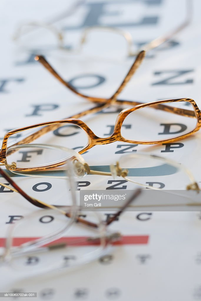 Eyeglasses on eye chart : Stock Photo