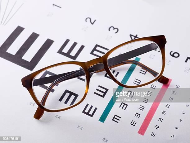Eyeglasses on medical exam chart