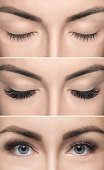 Eyelash removal procedure before and after close up. Beautiful Woman with long lashes in a beauty salon. Eyelash extension.