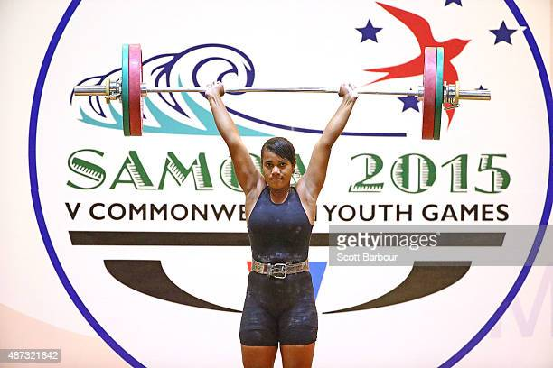 Eyenga Maraia Moana of Fiji competes in the Women 63kg 69kg Weightlifting at the Tuanaimato Sports Facility on day three of the Samoa 2015...