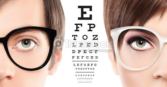 Eyes And Eyeglasses Close Up On Visual Test Chart Eyesight And Eye