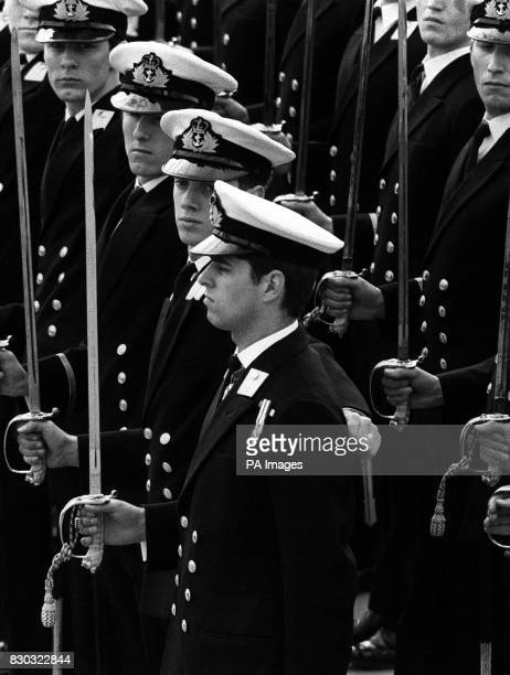 'Eyes front' for Prince Andrew during his passing out parade at Britannia Royal Naval College Dartmouth when he completed 7 months training as...