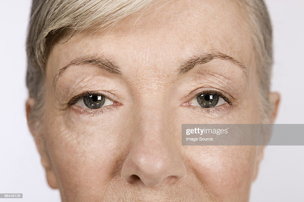 Eyes of a senior woman : Stock Photo