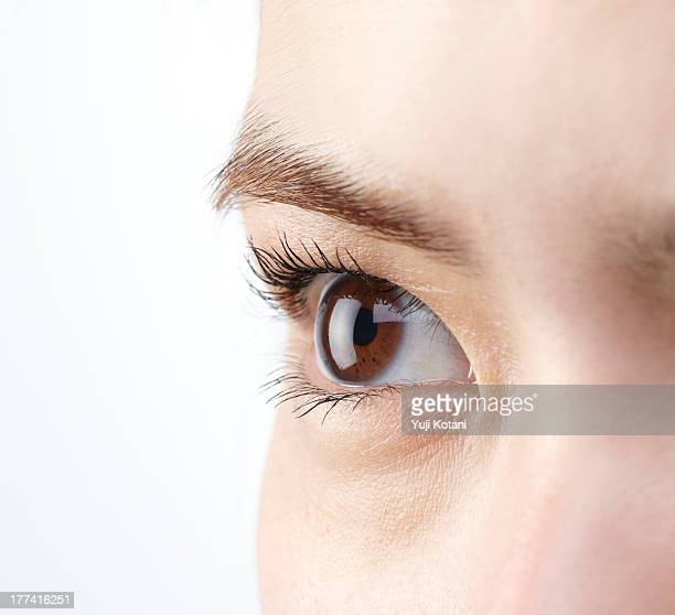 Eyes of a woman attaching a contact lens