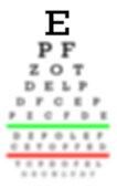 Eyesight concept - Test chart, letters getting smaller - Really bad eyesight