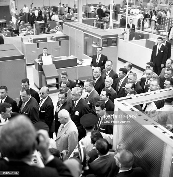 Eyewitness to History Soviet Premier Nikita Khrushchev at IBM plant in San Jose California Behind Khrushchev with the white hair is IBM chairman...