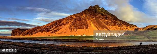 Eyjafjöll Mountain Range And Skogafoss River At Sunrise, Iceland