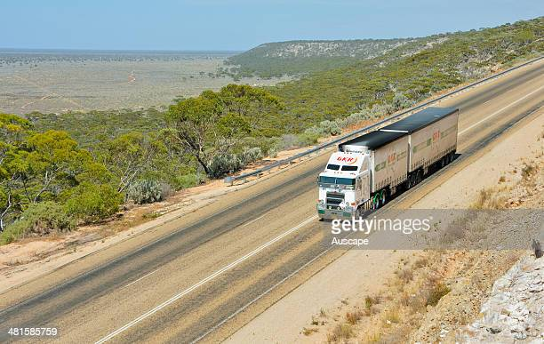 Eyre Highway descending from the limestone plateau of the Hampton Tableland part of the Nullarbor Plain Madura Pass Western Australia