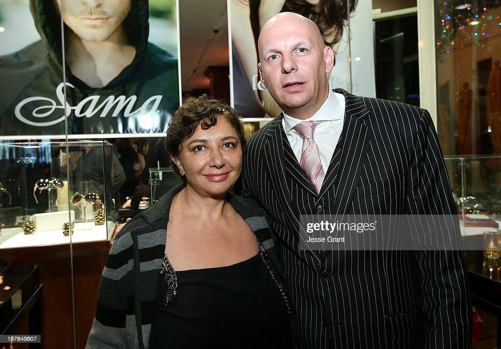 Eywear designer for Sama Sheila Vance and The Eye Gallery LA owner Pierre Keyser attend the Grand Opening of The Eye Gallery In Los Angeles on December 6, 2012 in Los Angeles, California.