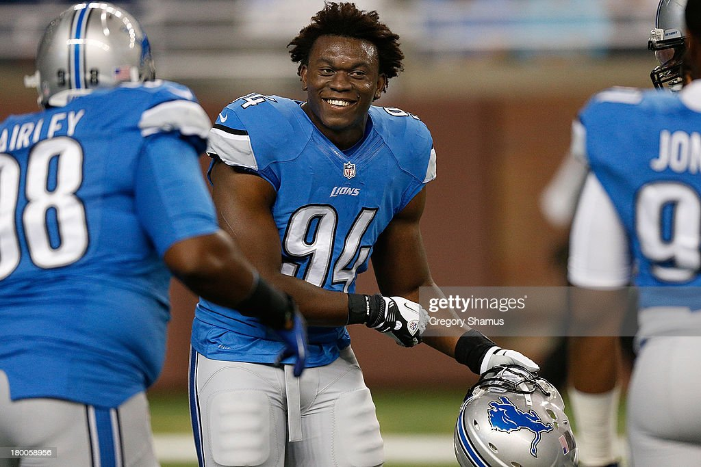 <a gi-track='captionPersonalityLinkClicked' href=/galleries/search?phrase=Ezekiel+Ansah&family=editorial&specificpeople=9750646 ng-click='$event.stopPropagation()'>Ezekiel Ansah</a> #94 of the Detroit Lions is all smiles during pre game prior to playing the Minnesota Vikings at Ford Field on September 8, 2013 in Detroit, Michigan.