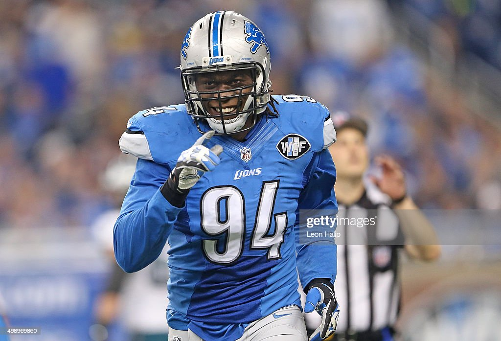 <a gi-track='captionPersonalityLinkClicked' href=/galleries/search?phrase=Ezekiel+Ansah&family=editorial&specificpeople=9750646 ng-click='$event.stopPropagation()'>Ezekiel Ansah</a> #94 of the Detroit Lions leaves the game during the first quarter of the game against the Philadelphia Eagles on November 26, 2015 at Ford Field in Detroit, Michigan. The Lions defeated the Eagles 45-14.