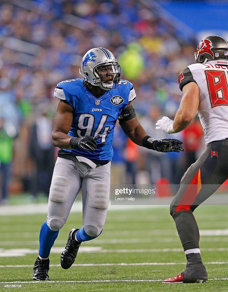 <a gi-track='captionPersonalityLinkClicked' href=/galleries/search?phrase=Ezekiel+Ansah&family=editorial&specificpeople=9750646 ng-click='$event.stopPropagation()'>Ezekiel Ansah</a> #94 of the Detroit Lions rushes the quarterback during the third quarter of the game against the Tampa Bay Buccaneers at Ford Field on December 7, 2014 in Detroit, Michigan. The Lions defeated the Buccaneers 34-17.
