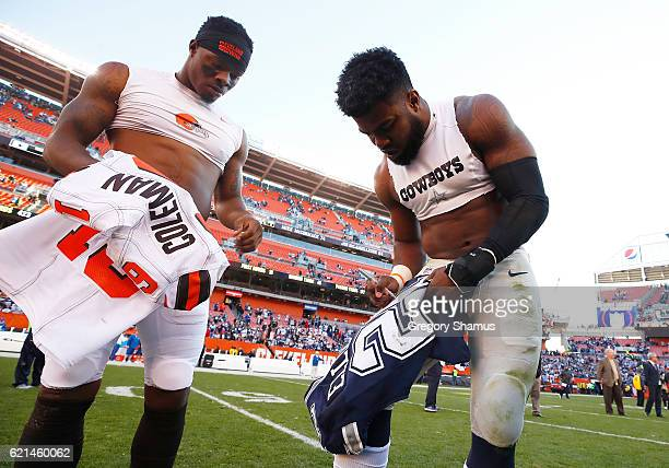 Ezekiel Elliott of the Dallas Cowboys exchanges jerseys with Corey Coleman of the Cleveland Browns after the game at FirstEnergy Stadium on November...