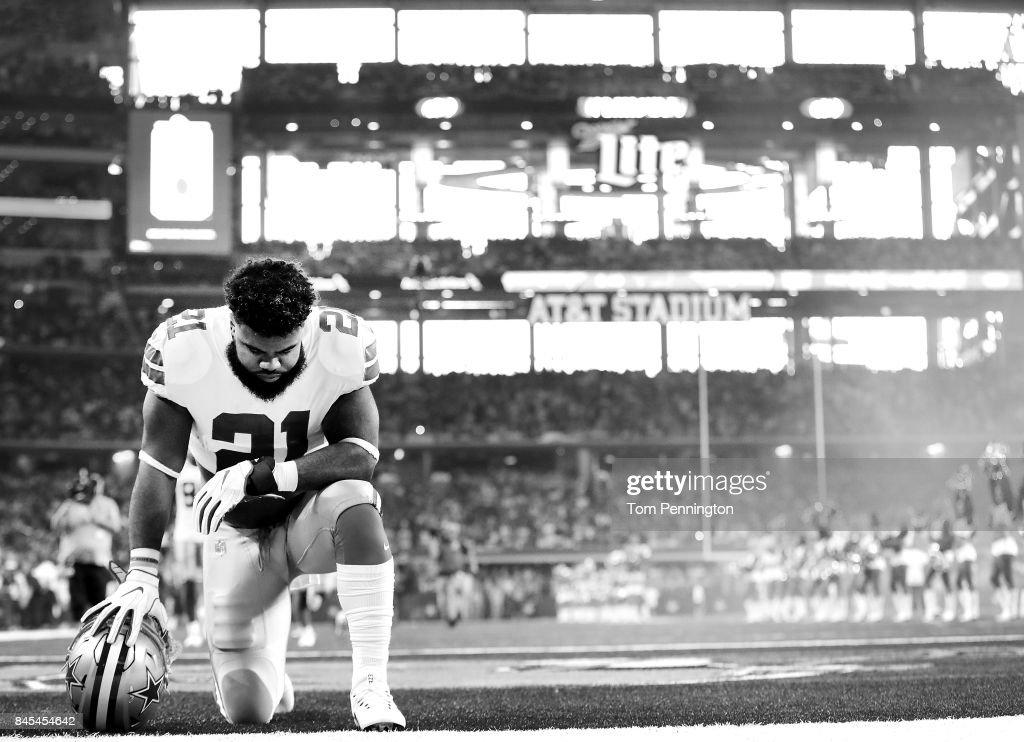 Ezekiel Elliott #21 of the Dallas Cowboys prepares to take on the New York Giants at AT&T Stadium on September 10, 2017 in Arlington, Texas.