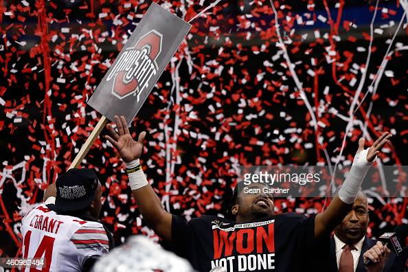 Ezekiel Elliott of the Ohio State Buckeyes celebrates after defeating the Alabama Crimson Tide in the All State Sugar Bowl at the MercedesBenz...