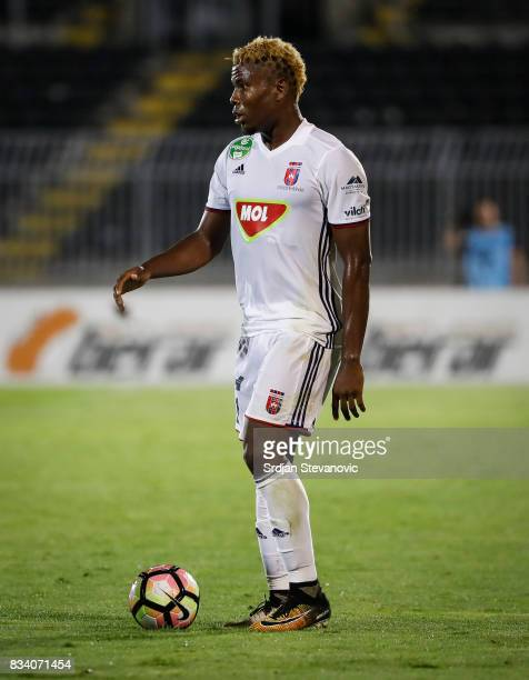 Ezekiel Henty of Videoton in action during the UEFA Europa League Qualifying PlayOffs round first leg match between Partizan and Videoton FC at...