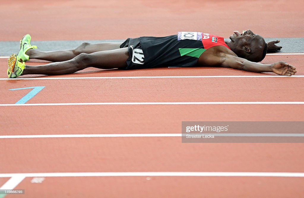 Ezekiel Kemboi of Kenya celebrates winning gold in the Men's 3000m Steeplechase on Day 9 of the London 2012 Olympic Games at the Olympic Stadium on August 5, 2012 in London, England.