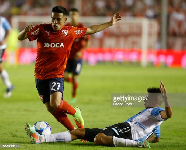 Ezequiel Barco of Independiente and Diego Montiel of Atletico Rafaela fight for the ball during a match between Independiente and Atletico de Rafaela...