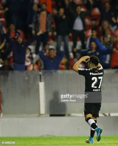 Ezequiel Barco of Independiente celebrates after scoring the second goal of his team during the first leg match between Independiente and Deportes...
