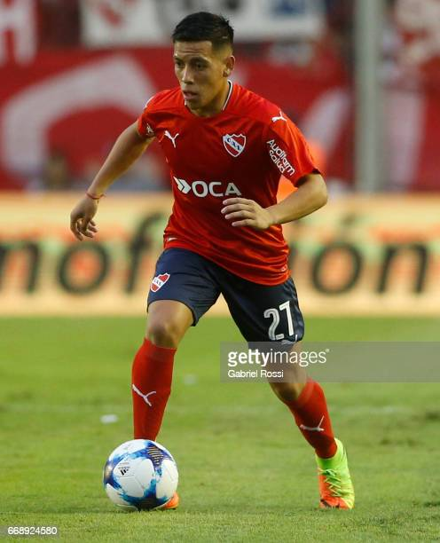 Ezequiel Barco of Independiente drives the ball during a match between Independiente and Atletico de Rafaela as part of Torneo Primera Division...