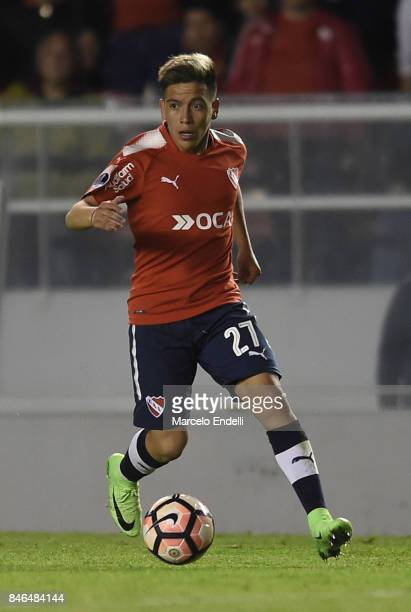 Ezequiel Barco of Independiente drives the ball during a second leg match between Independiente and Atletico Tucuman as part of round of 16 of Copa...