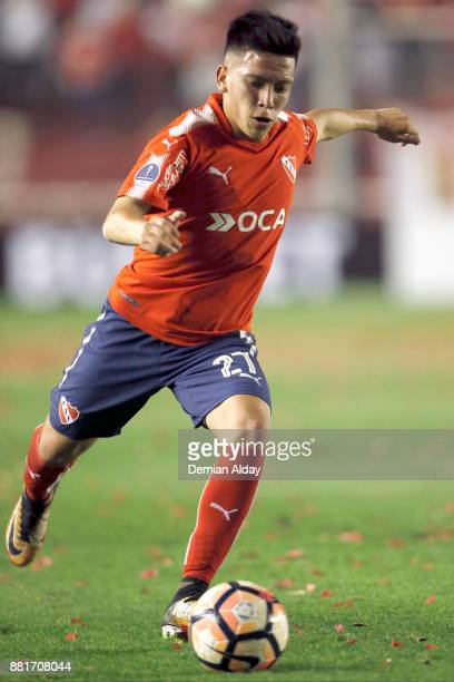 Ezequiel Barco of Independiente drives the ball during a second leg match between Independiente and Libertad as part of the semifinals of Copa...