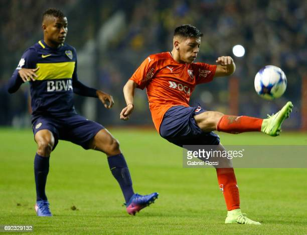 Ezequiel Barco of Independiente kicks the ball during a match between Boca Juniors and Independiente as part of Torneo Primera Division 2016/17 at...