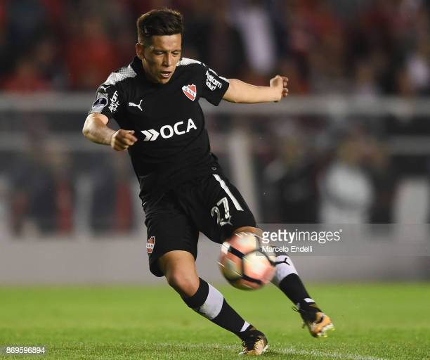 Ezequiel Barco of Independiente kicks the ball during a second leg match between Independiente and Nacional as part of the quarter finals of Copa...