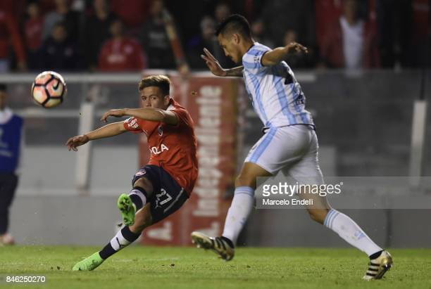 Ezequiel Barco of Independiente takes a shot during a second leg match between Independiente and Atletico Tucuman as part of round of 16 of Copa...