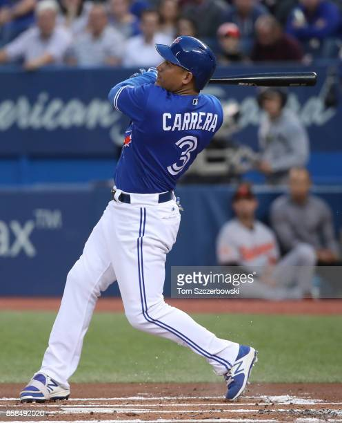 Ezequiel Carrera of the Toronto Blue Jays bats in the first inning during MLB game action against the Baltimore Orioles at Rogers Centre on September...