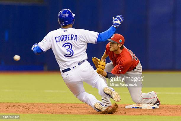 Ezequiel Carrera of the Toronto Blue Jays is caught trying to steal second base by Josh Rutledge of the Boston Red Sox in the bottom of the fourth...