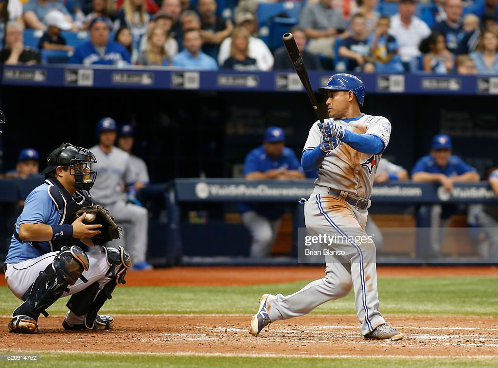 Ezequiel Carrera #3 of the Toronto Blue Jays looks back at catcher Hank Conger #24 of the Tampa Bay Rays as he strikes out swinging during the eighth inning of a game on May 1, 2016 at Tropicana Field in St. Petersburg, Florida.
