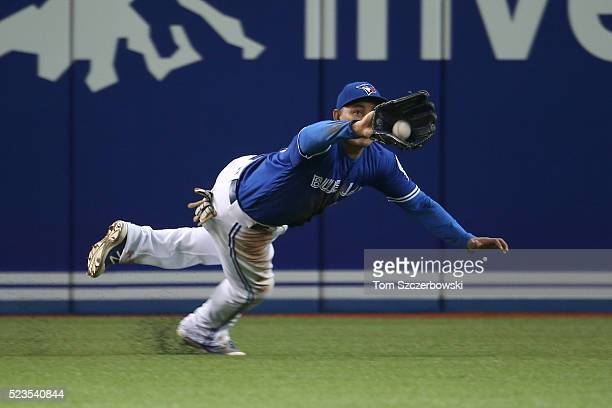 Ezequiel Carrera of the Toronto Blue Jays makes a catch in the fifth inning during MLB game action against the Oakland Athletics on April 23 2016 at...