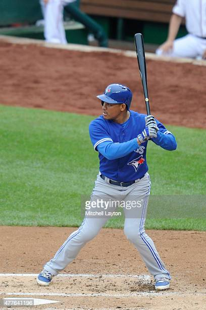 Ezequiel Carrera of the Toronto Blue Jays prepares for a pitch during game one against the Washington Nationals at Nationals Park on June 2 2015 in...