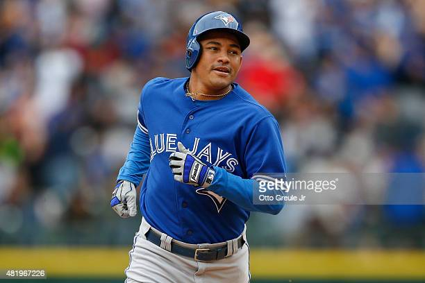 Ezequiel Carrera of the Toronto Blue Jays rounds the bases after hitting a pinchhit gametying two run home run against the Seattle Mariners in the...