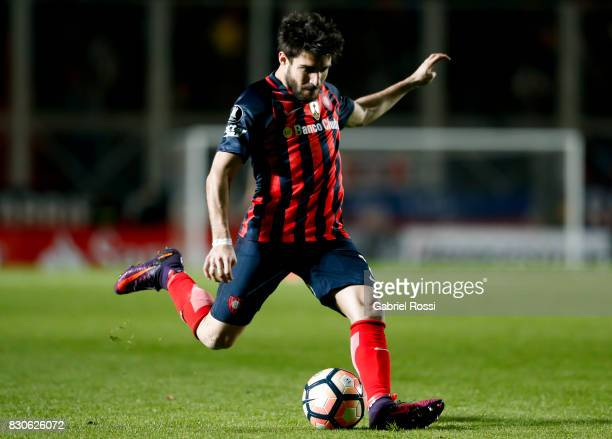 Ezequiel Cerutti of San Lorenzo kicks the ball during a second leg match between San Lorenzo and Emelec as part of round of 16 of Copa CONMEBOL...