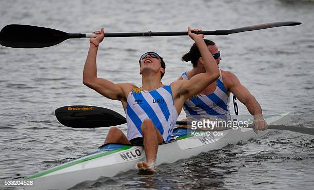 Ezequiel Di Giacomo and Miguel Correa of Argentina react after finishing second in the Sr Men K2 200m Final during Day Three of the 2016 Canoe Kayak...